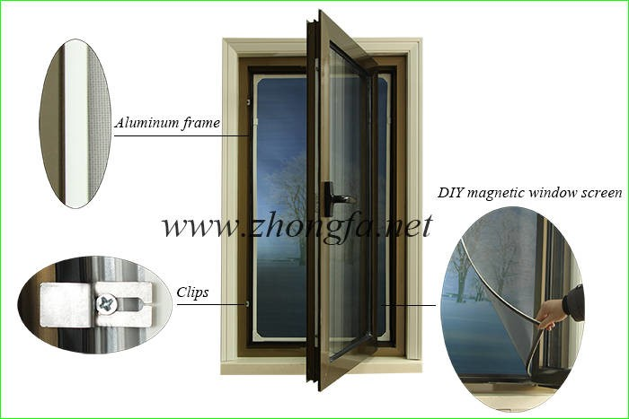 LOGO_DIY magnetic window screen for in-swinging casement windows