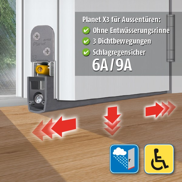 LOGO_Planet X3 – keeps out driving rain (6A/9A) for exterior doors, barrier-free with zero threshold!