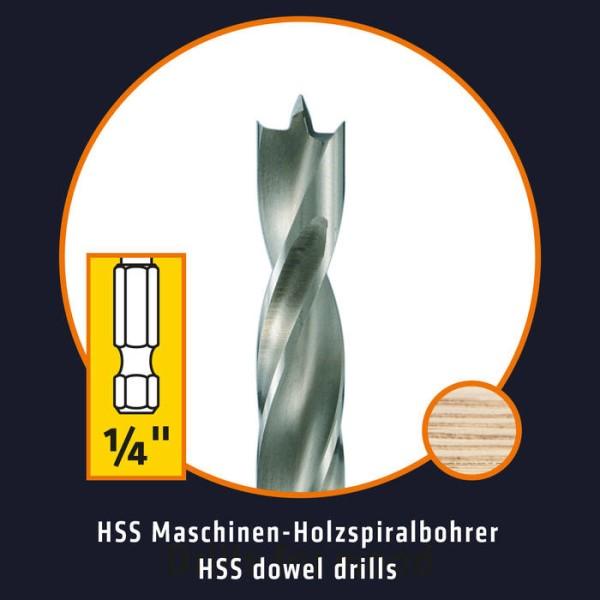LOGO_ALPEN Drills HSS Maschinen-Holzspiralbohrer mit 1/4˝-Sechskantschaft