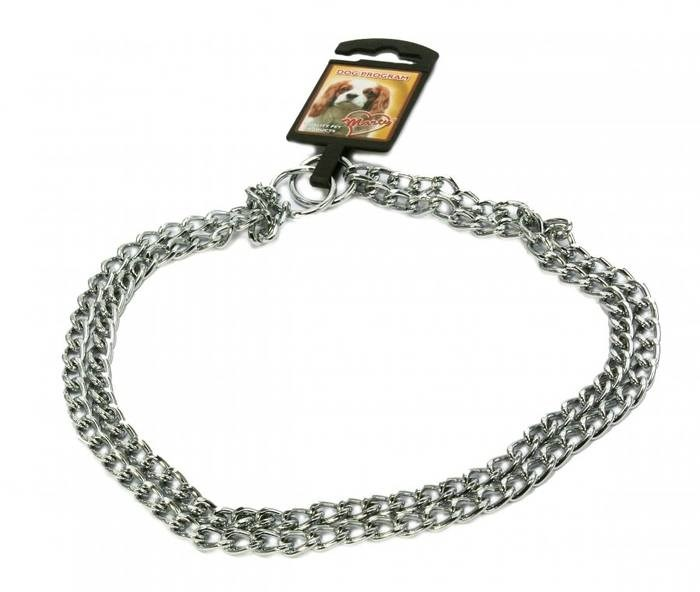LOGO_MARTY stainless steel double choke chain collar