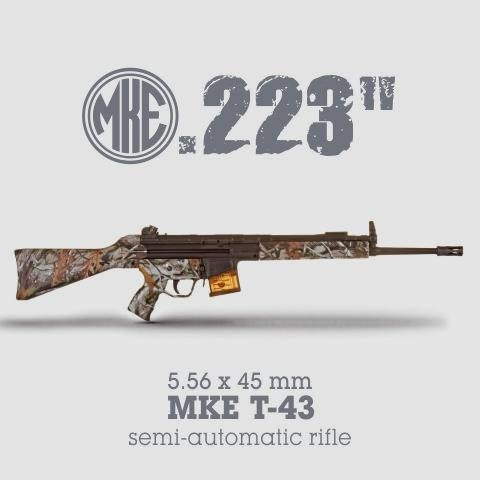"LOGO_0.223 "" (5.56 x 45 mm) MKE T-43 semi-automatic rifle"