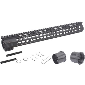 LOGO_Super Slim Ultra Lightweight Rifle Length 15'' Free Float KeyMod AR15 Handguard Rail Mount SCRAAM-32