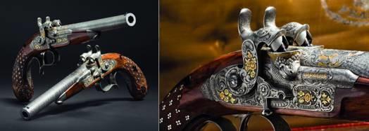 LOGO_Ein Paar Luxus- Perkussionspistolen für hintereinanderliegende Ladungen im Kasten,  Anton Vinzent Lebeda, Prag um 1850