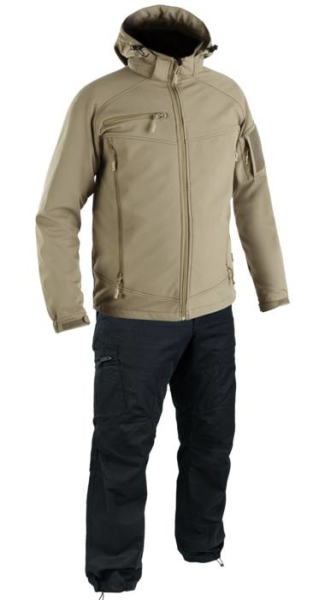 LOGO_TAN ULTIMATE JACKET AND BLACK HURRICANE TROUSERS