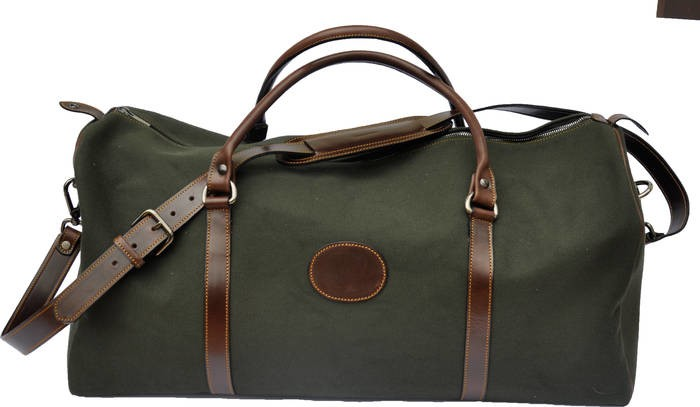 LOGO_Canvas and leather travel bag