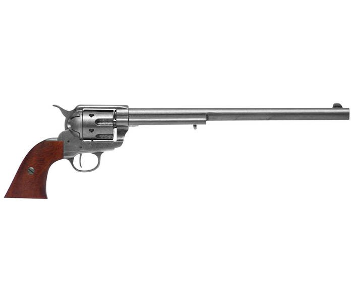 LOGO_100-1303             Colt Peacemaker, Kaliber 45 with extralong Barrel, made of metal, with a wooden grip, full workable, but not for shooting. Length: 46 cm