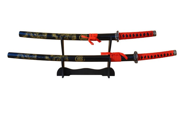 "LOGO_764-670                2 pcs. Set Samurai sword Set "" Emperor Dragon"" with steel blades, lacquered sheet, with wooden display, Length: 101/78 cm."