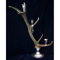 LOGO_Candle holder genuine stag antler with pewter mountings