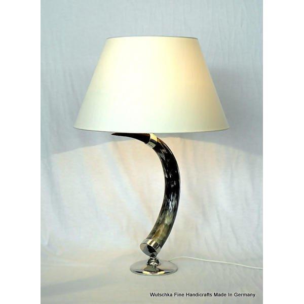LOGO_Tischlampe echt Rinderhorn mit Zinnmontagen
