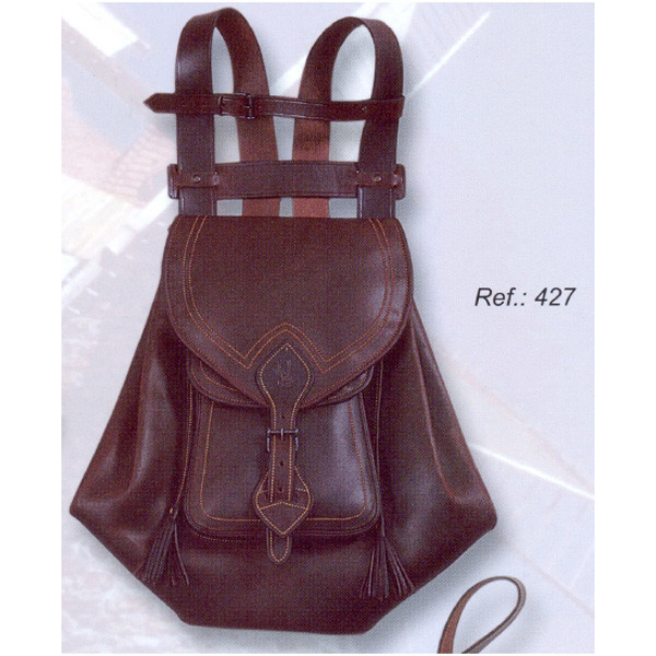 LOGO_Leather backpack with flap and pocket