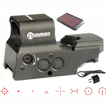 LOGO_US Design Premium Combat Omega Manufacturing 8 Reticles Tactical Red Dot Sight With Solar Power Charger Set QD Mount SCRD-04