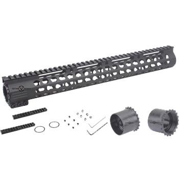 LOGO_Super Slim Ultra Lightweight Rifle Length 15'' Free Float KeyMod AR15 Handguard Rail Mount SCRAAM-32