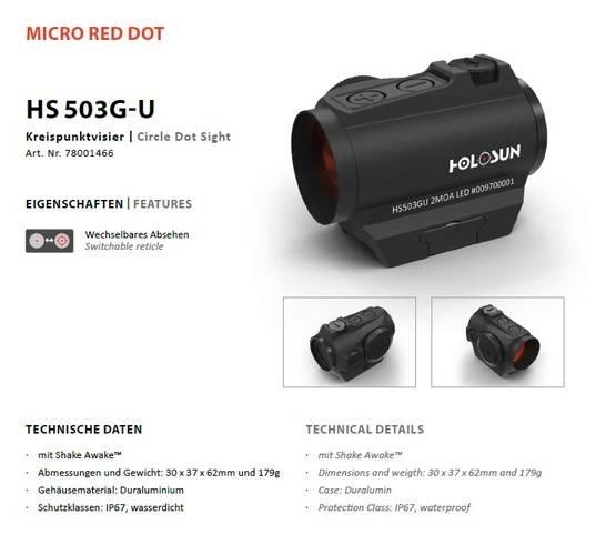 LOGO_Holosun Rotpunktvisier HS503G-U (2MOA DOT / 65 MOA Ring)