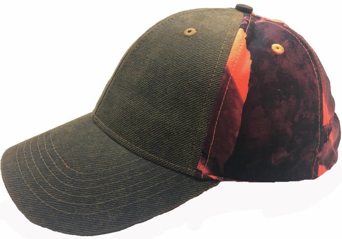 LOGO_Waxed cotton and camo 6-pannel cap