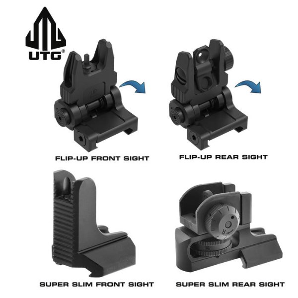 LOGO_UTG AR15 Spring-Loaded Flip-up and Super Slim Fixed Front and Rear Sights