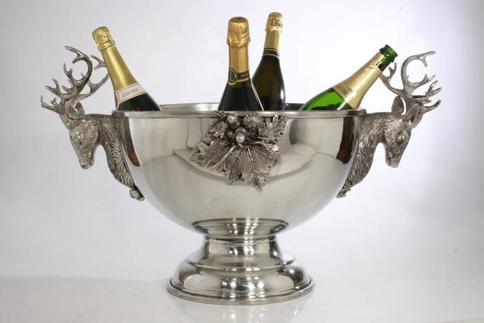 LOGO_Big Champagne holder in pewter with deers