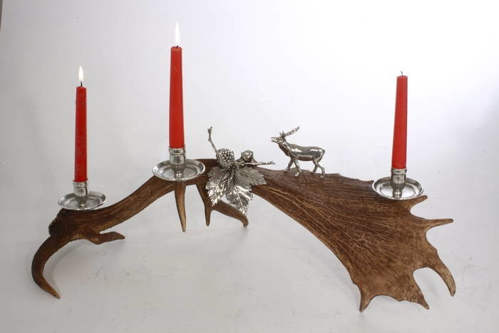LOGO_real fallow deer horn candles holder
