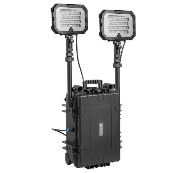 LOGO_Mobiles Flutlicht mit zwei Leuchtköpfen für doppelte Leuchtstärke