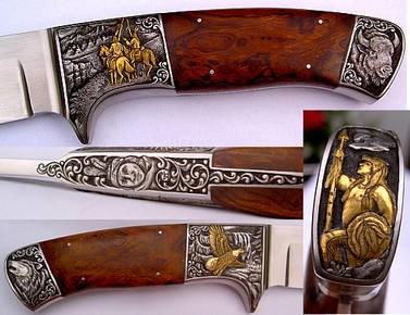LOGO_Edel graviertes Sammlermesser mit indianischen Motiven