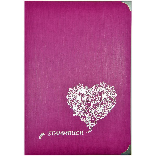 LOGO_Stammbuch AMORE, Farbe beere, mit Herz