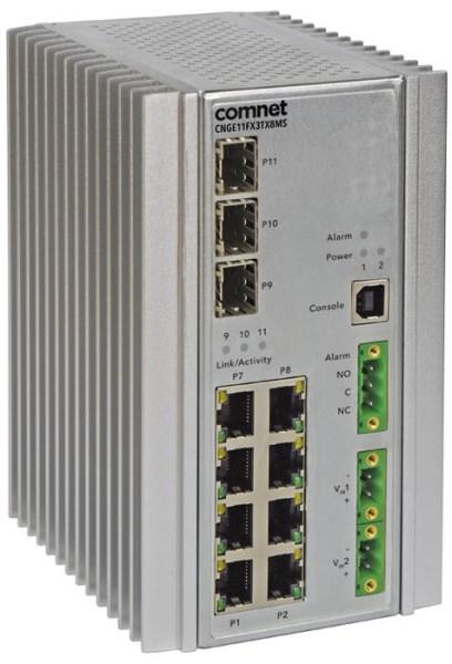 LOGO_CNGE11FX3TX8MS & CNGE3FE8MS Serie, Industrieeller robuster Ethernetswitch mit 3 x SFP Slots und 8 x RJ45 mit optionalen 30 oder 60W PoE