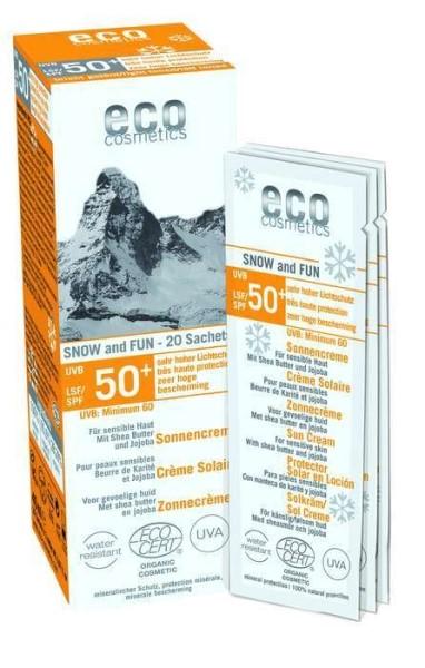LOGO_Sonnencreme LSF 50+ SNOW & FUN leicht getönt 20 x 2ml Einzelanwendungen Mit Shea Butter und Jojoba