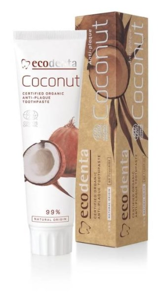 LOGO_ECODENTA COSMOS Certified organic anti-plaque toothpaste with natural coconut oil and zinc salt