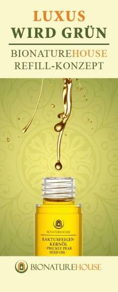 """LOGO_""""LUXURY GOES GREEN BIONATUREHOUSE REFILL CONCEPT FOR OUR PRICKLY PEAR SEED OIL AIRLESS BOTTLE"""""""