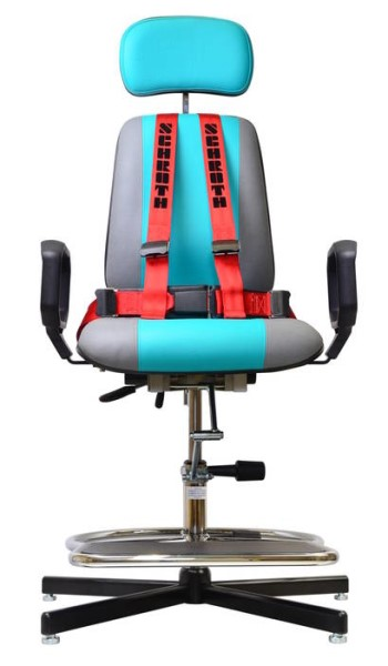LOGO_Arbeitsstuhl für Epileptiker mit verlängertem Sitz, Fußring, Armlehnen und Hosenträger-Gurt